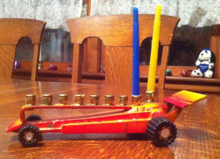 Yes, that's my menorah. And yes, it's a race car