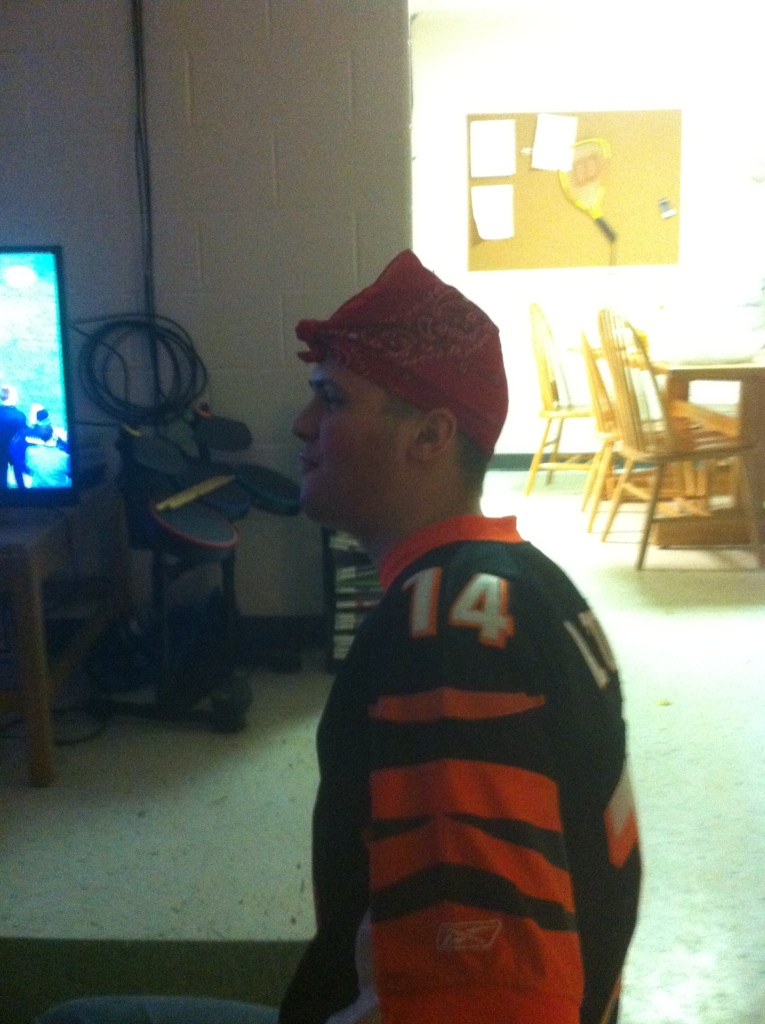 Also interesting is the fact that he's wearing a Bengal's jersey